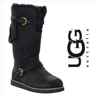 UGG Black Fringe tall boots 5 36